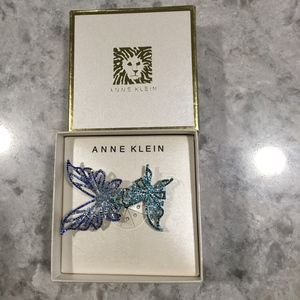 BUTTERFLY PIN ANNE KLEIN BLUE GREEN NEW DOUBLE